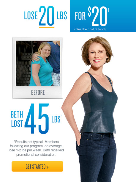 Jenny Craig - Lose 20lbs for $20.† (Plus the cost of food)